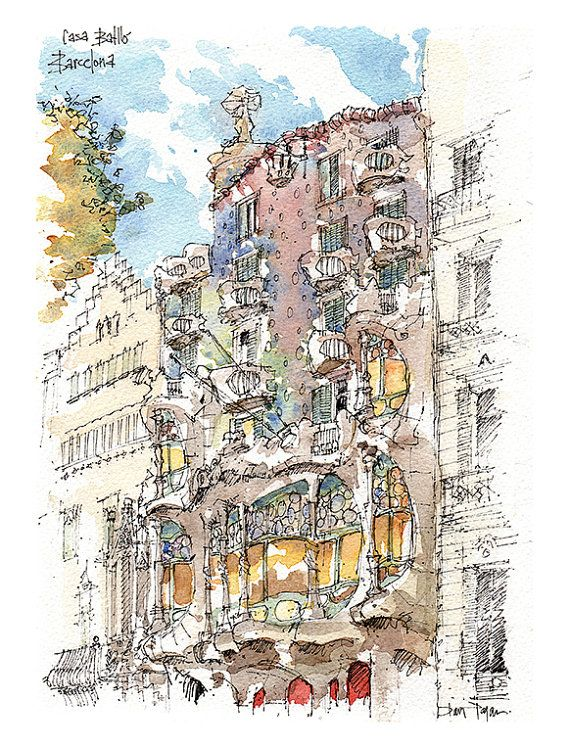 PRINT / Casa Batlló. Antoni Gaudí. Eixample por drawingBarcelona