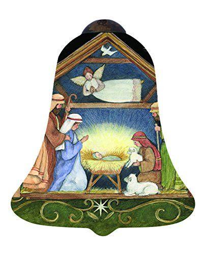 Ne'Qwa Art Christmas Gifts Away In A Manger Artist Susan Winget Petite Bell-Shaped Glass Ornament #7151171
