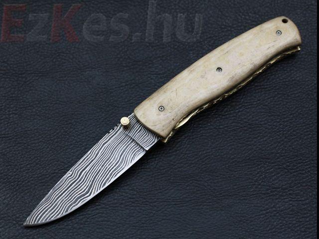 Custom damascus folding knife