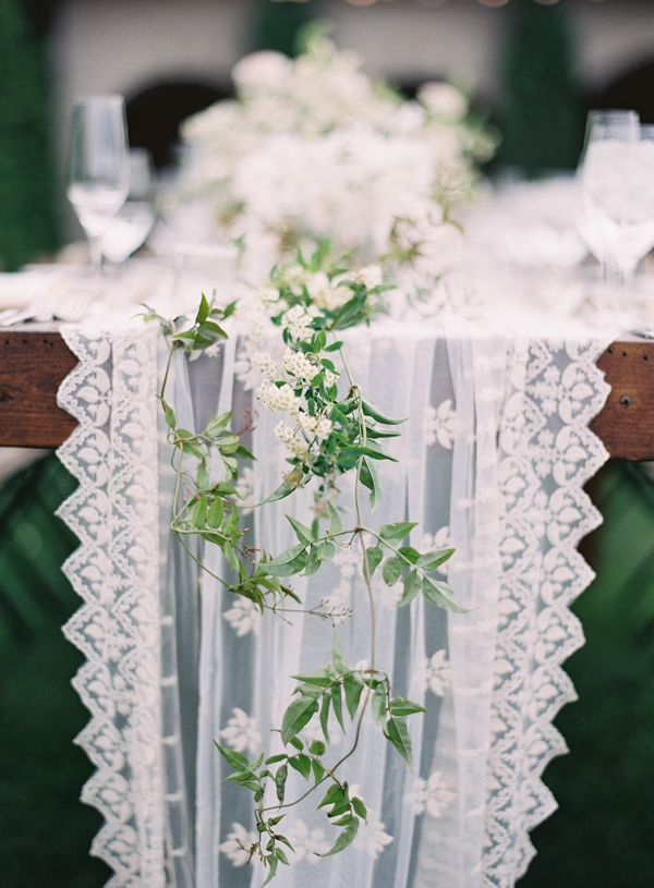 Lace runner and vines.