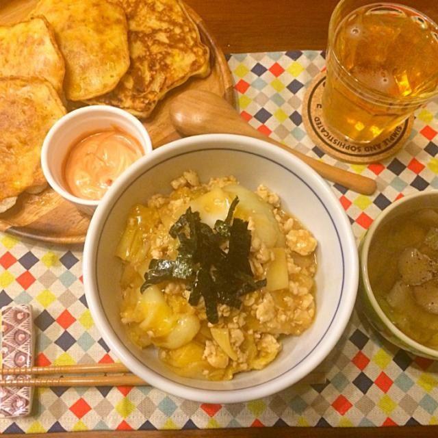 豆板醤でピリ辛に❤️ - 16件のもぐもぐ - 白菜と鶏ひき肉と麻婆丼  コーンとツナのおやき 中華スープ by hasese