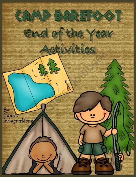 """Camping Theme; End of the Year; """"Teachers Notebook Featured Product"""" ;End the year on a fun note with the Camp Barefoot theme. I've created lots of fun educational activities and ideas for the camp theme. $"""