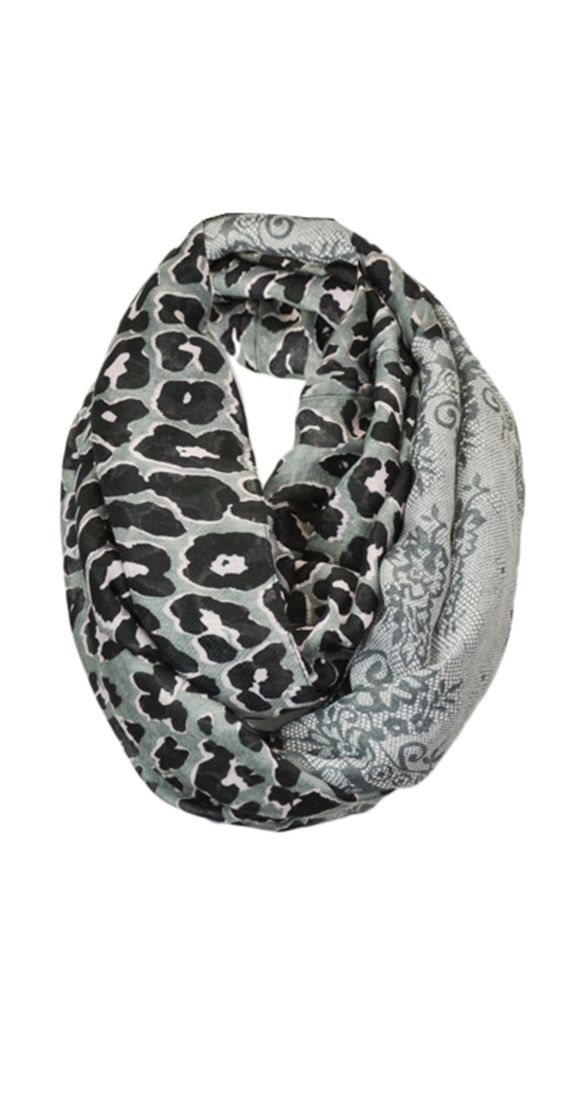 "Why should you have to choose?! every girl has a bit of sugar and spice - naughty and nice .  Infinity scarf Lightweight fabric One size 36"" wide Infinity loop is 72"" around 100% Polyester http://www.silvericing.com/product_info.php?products_id=1211&st_id=49"