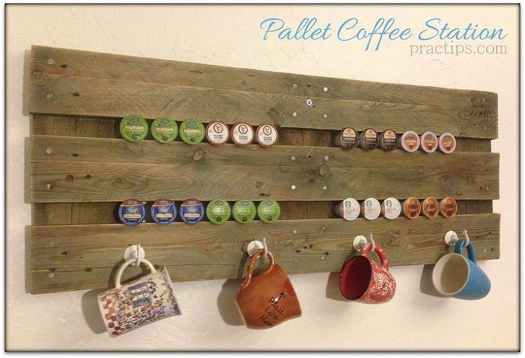 For months, I have looked at a drab, plain wall in my kitchen above my coffee station. There were two needs to address: storing my favorite mugs close by and displaying my K-cup options where I could see them. The goal was to accomplish this task without spending any money and with very little work. Finished look of the cafe rack mounted to the wall. I discovered that K-cups fit perfectly between the pallet slats, saving me the time I would have spent drilling holes! Score! I found four ...