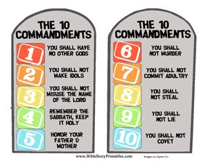 Ten Commandment File Folder Game