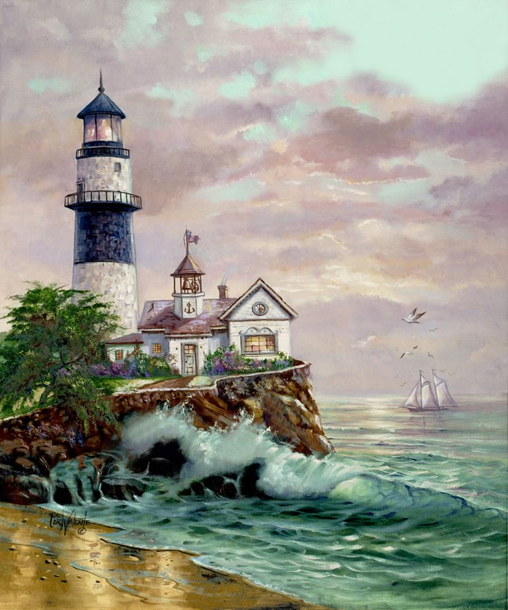 Lighthouse Point by Carl Valente ~ pounding surf ~ sailboat