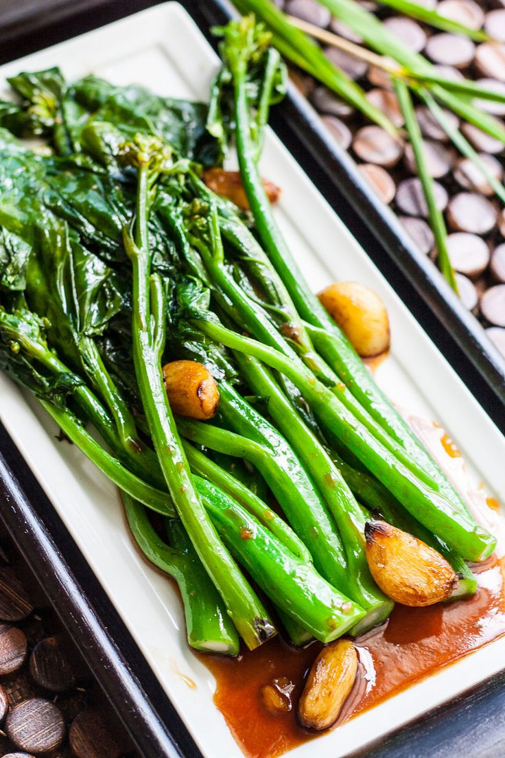One of my favorite.... A Vegetarian at heart.  Chinese Broccoli (Gai Lan) with Oyster Sauce