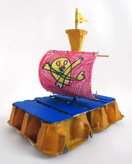 Egg carton pirate ship. I wish I'd seen this last month when I was teaching transportation. This could totally be made into a sailboat.