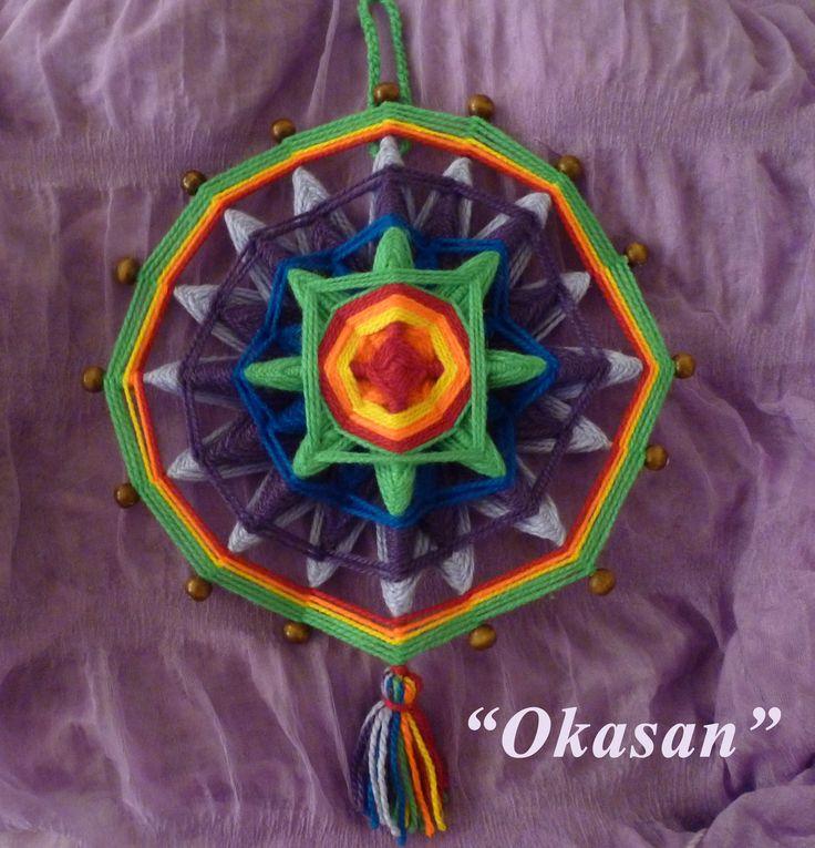 Mandalas Tejidos Okasan 16 puntas. Conoce nuestros Mandalas y Talleres en la Web www.okasan.cl