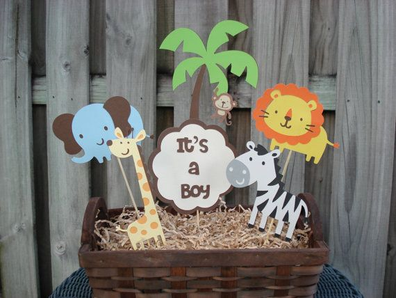 Jungle Birthday Centerpiece, Safari Birthday Centerpiece, Safari Baby Shower,  Jungle Baby Shower Centerpiece, Its A Boy
