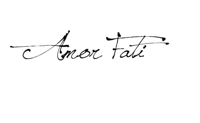Tattoo Name Amor Fati using the font style Jellyka Saint Andrews Queen