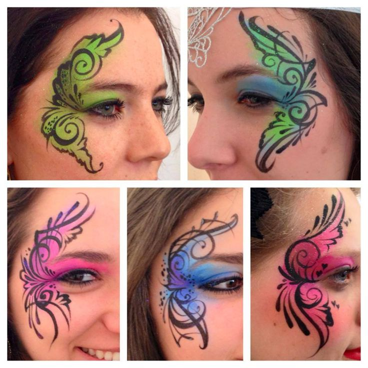 teenager eye designs for face painting swirls and teardrops colorful