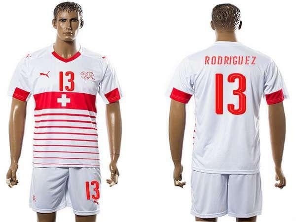 2016 european cup switzerland away 13 rodriguez white mens soccer shirt kit