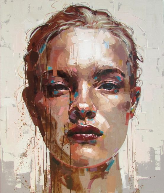 Jimmy Law, acrylic on canvas, 2014 {figurative #expressionist art female head grunge woman face portrait painting drips #loveart} jimmylaw.co.za