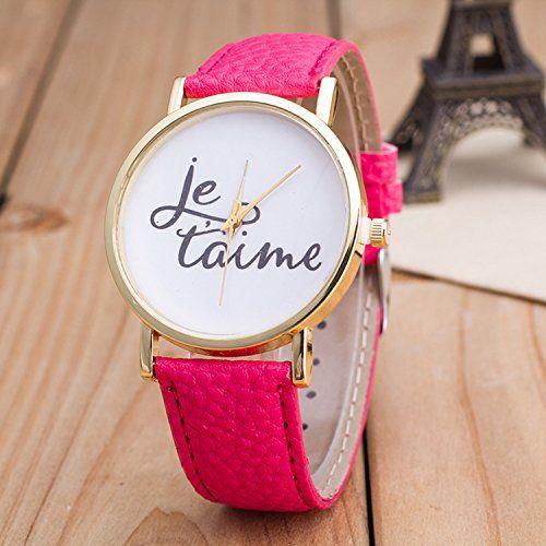 Vintage JETAIME Damen Armbanduhr Basel-Stil Quarzuhr Lederarmband Uhr Rosa - http://uhr.haus/better-dealz/rosa-vintage-jetaime-damen-armbanduhr-basel-stil