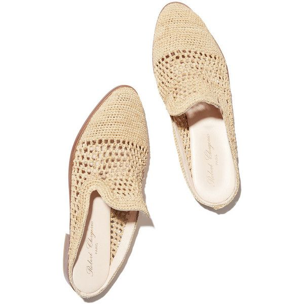 Antes Slides ❤ liked on Polyvore featuring shoes, raffia shoes, loafer shoes, backless shoes, woven shoes and woven loafers