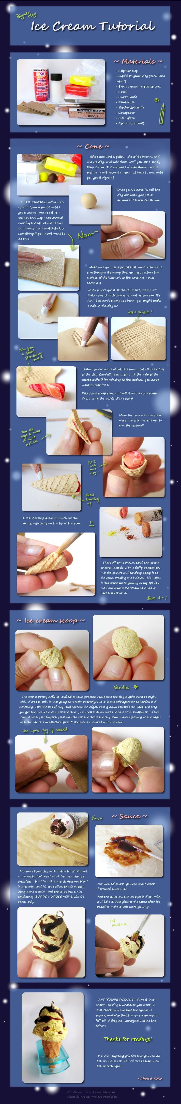 Mini ice cream & waffle cone tutorial with chocolate sauce -  to use as a charm. Cute. Probably not something I'd make, but a couple of neat tricks/tips