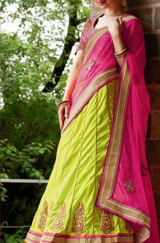 Shop for Light green and pink embroidered lengha saree @ Rs 5930 !!  #IndianSaree #IndianSarees #OnlineShopping #Silksaree