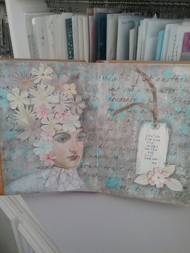 Art journal page,  stenciled layers,  prima flowers