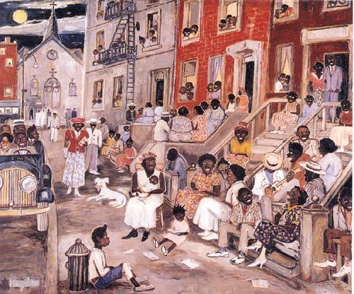 """In 1938 Palmer Hayden during the Harlem Renaissance, he created """"Midsummer Night in Harlem"""". Hayden portrays this painting as a growing community comparing the Africans Americans back in the Harlem Renaissance as a growing community."""