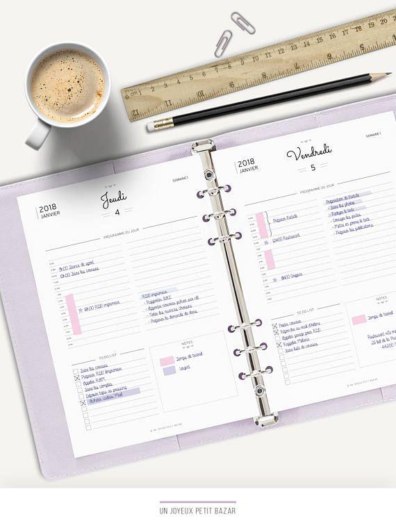 AGENDA JOURNALIER 2018 A IMPRIMER Daily planner 1 jour