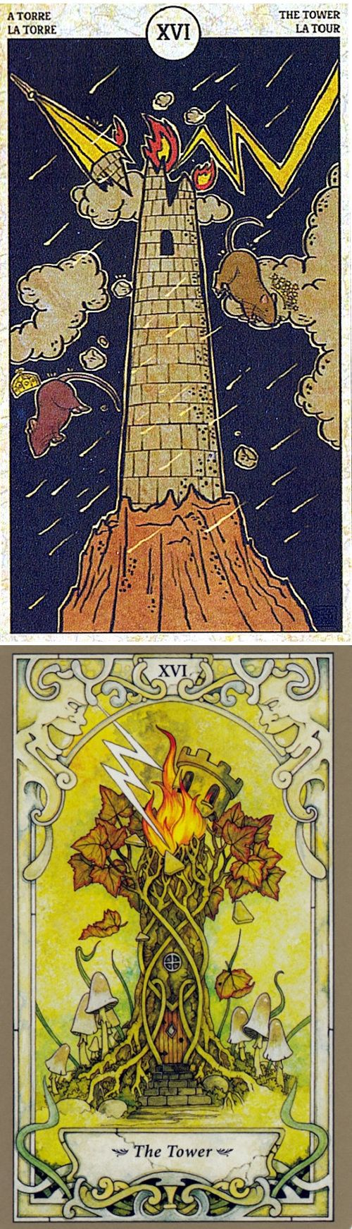 THE TOWER: sudden disaster and delaying inevitable disaster (reverse). Rat Tarot deck and Mystic Faerie Tarot deck: free physic reading online, free career tarot reading and tarotspreads. Best 2018 playing card tattoo ideas and tarot meanings. #halloween # #theworld #minorarcana #judgement #ios