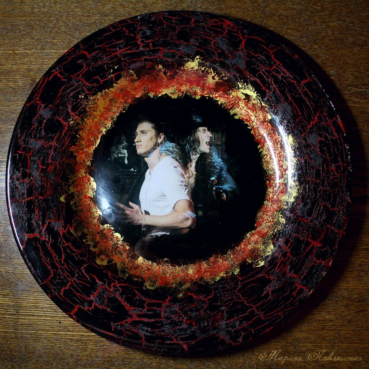 "Series of decoupaged plates ""Jekyll and Hyde"": Alter ego. Rostislav Kolpakov as dr. Jekyll and mr. Hyde."