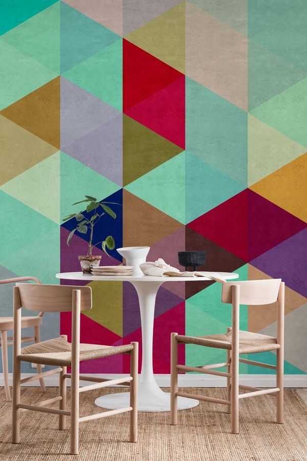 Colored Triangles Wallpaper Wall Paint Designs Wall Decor Living Room Wall Tapestry Diy