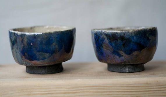 2 ceramic chawans tea cups handmade raku unique blue