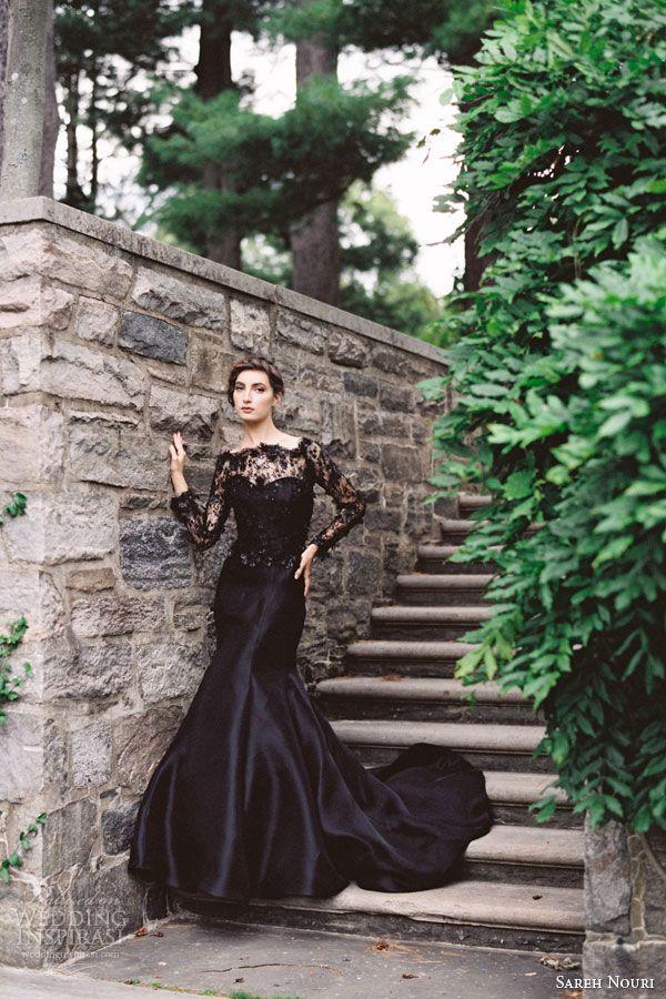 sareh nouri midnight black lace wedding dress gazar trumpet gown long sleeves