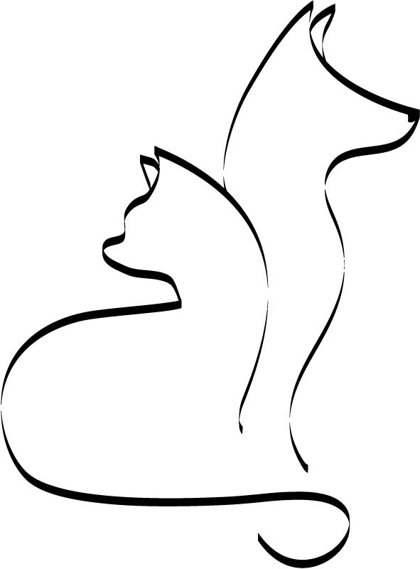 Dog and Cat Outline | Outline Cat and Dog Cats and Dogs Animals Wall Stickers Wall Art ...