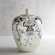 "Inspired by 14th century Chinese ""general jars"" used to carry salt, spices, rice and ashes, our decorative ceramic ginger jar delivers a mighty dose of Asian style. Hand-painted botanic patterns in cool shades of blue and gray cover this <i>objet d'art</i>from foot to lid, resulting in a striking conversation piece that can stand alone or mingle with other jars of varying sizes."
