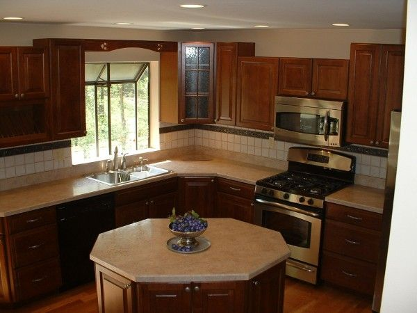 An Oddly Shaped Kitchen Island: Hickory Cabinets, L Shaped Kitchen And Kitchens With