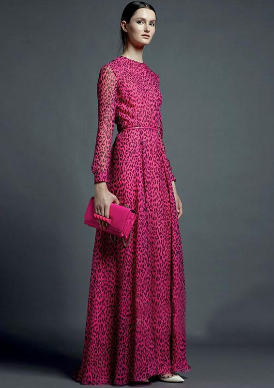 Rose Red Long Sleeve Leopard Maxi Dress - abaday.com