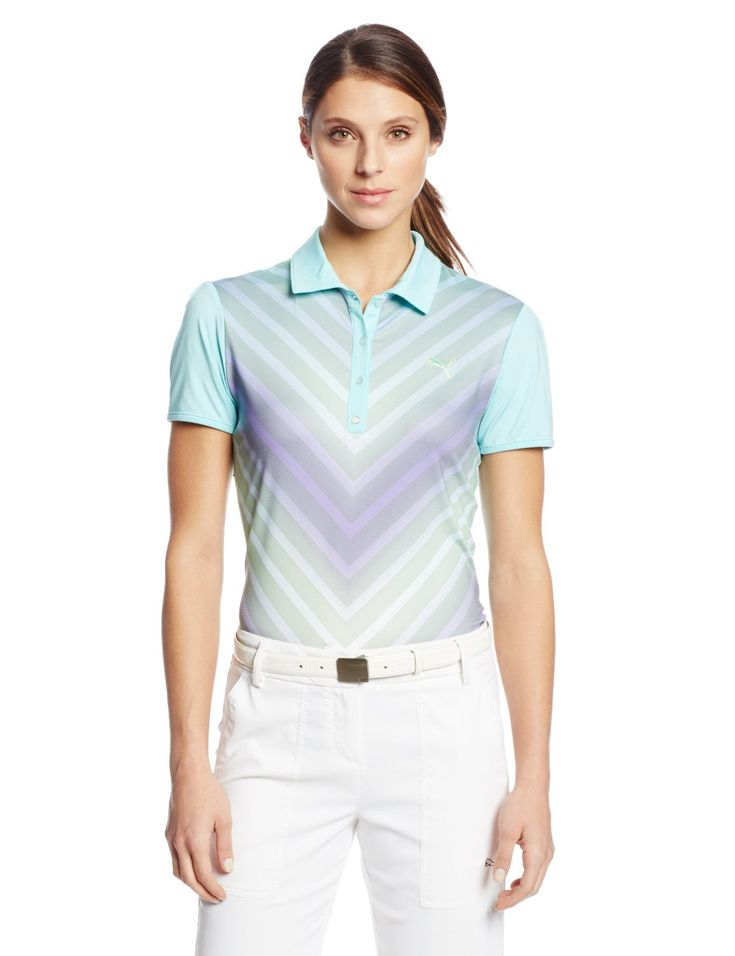Utilizing stretch dryCELL fabrication this womens NA transitional graphic golf polo shirt by Puma delivers moisture wicking properties to ensure you stay dry and comfortable