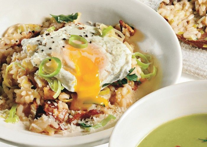 Bacon and Leek Risotto with Poached Egg | Eat and Drink Inspiration ...