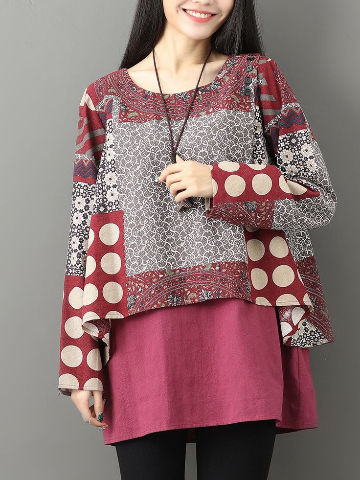 Gracila Casual Printed Two-Layer O-Neck Women Blouses