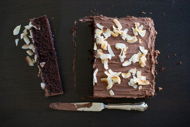 Melt and mix chocolate coconut cake