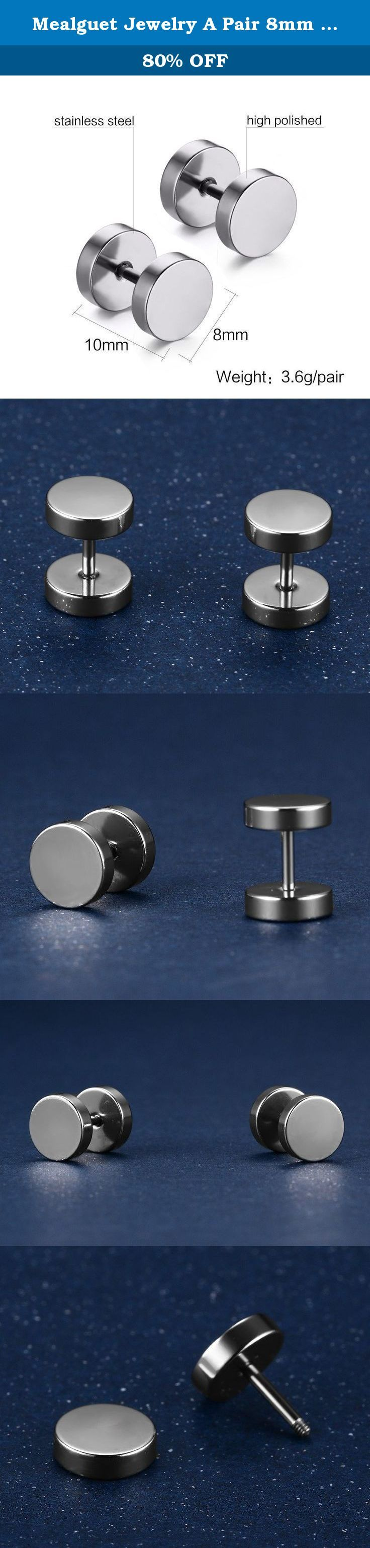 Mealguet Jewelry A Pair 8mm Men's Stud Earring Illusion Tunnel Plug Screw Back in Stainless Steel, Silver. Mealguet Jewelry 6 Pairs 8mm Men's Stud Earring Illusion Tunnel Plug Screw Back in Stainless Steel, 5 Colors Why I need a Stainless Steel Jewelry? Stainless Steel jewelry does not tarnish and oxidize, It not like silver will be getting black, not like copper jewelry allergy prone, not as alloy jewelry because of lead. And it is amazingly hypoallergenic. Such advantages make it a more...