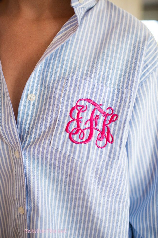 BLUE And White Striped BRIDAL Party Shirt PERSONALIZED 3 Letter Monogram On Front Wedding Day