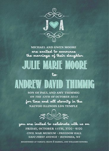 37 best Chalkboard Wedding Invitations images on Pinterest