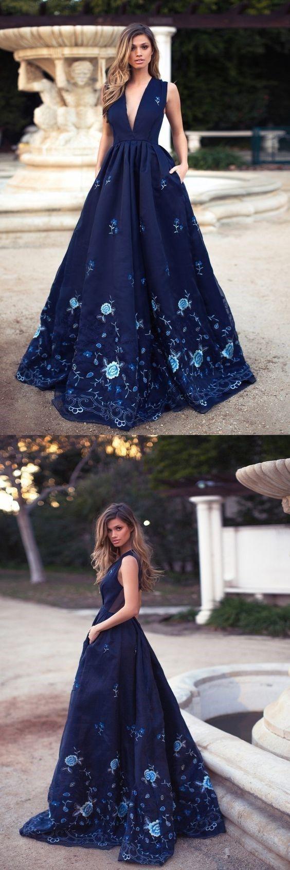 A-Line Deep V-Neck Navy Blue Evening Prom Dress with Appliques Pockets #navybluepromdresses #SimpleAlinePromDresses #prom #dresses #longpromdress #promdress #eveningdress #promdresses #partydresses #2018promdresses #ballgown #eveninggown #promgown
