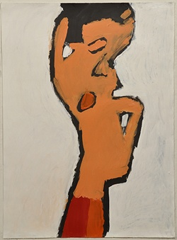 Patrick Francis, Not titled (figure with red) 2011 acrylic on paper 76 x 56cm © Artist Represented by Arts Project Australia
