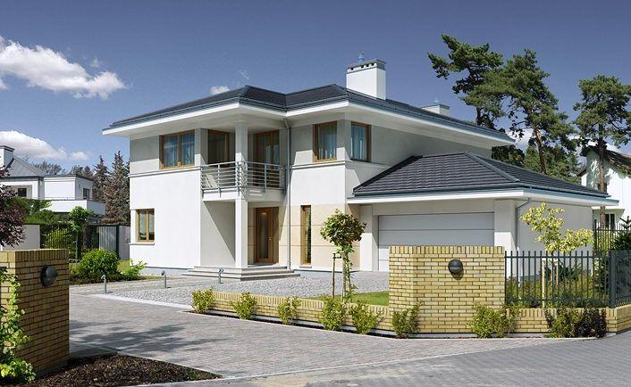 Z Fasonem 1 - wizualizacja 1 - Projekt nowoczesnego domu piętrowego z garażem dwustanowiskowym