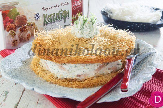 Μια ιδιαίτερη συνταγή από την Ντίνα Νικολάου: Αλμυρή τούρτα με φύλλο κανταϊφι & καπνιστή πέστροφα