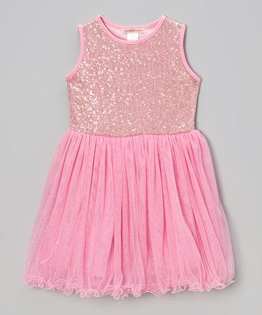 Look what i found on zulily pink sequin lettuce edge dress toddler