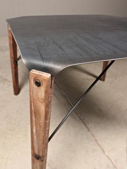 "coffee table - Love this twist- ""hairpin"" wood, metal top. Yum."