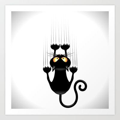 Black Cat Cartoon Scratching Wall Art Print by Bluedarkat Lem - $15.60