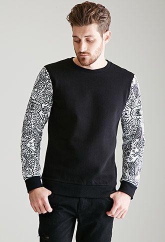 Colorblocked Abstract Print Sweatshirt | 21 MEN | #f21men