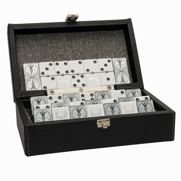 Classic double 6 black dominoes with white dots have never looked more glamorous. This is our most luxurious set of dominoes. It comes in an elegant case and the decorative detail on the dominoes reminds us of the designs and luxury of Art Nouveau. promoproducts.com